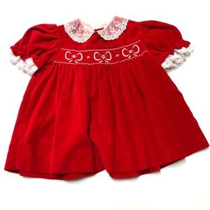 5/$25 Vintage red velvet bow baby party dress 12 M